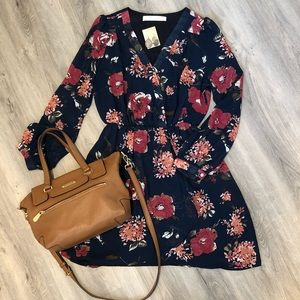 Navy floral print dress from Honey Belle, size M